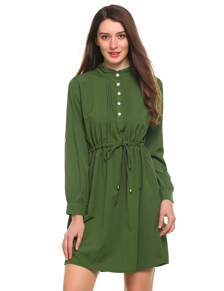 Army green Stand Collar Waist Adjustable Drawstring Tunic Front Pleated Dress