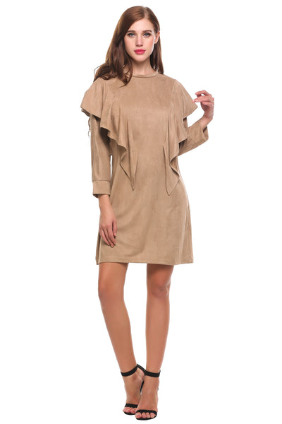 Apricot Casual O-Neck Long Sleeve Solid Button Pullover Loose Dress