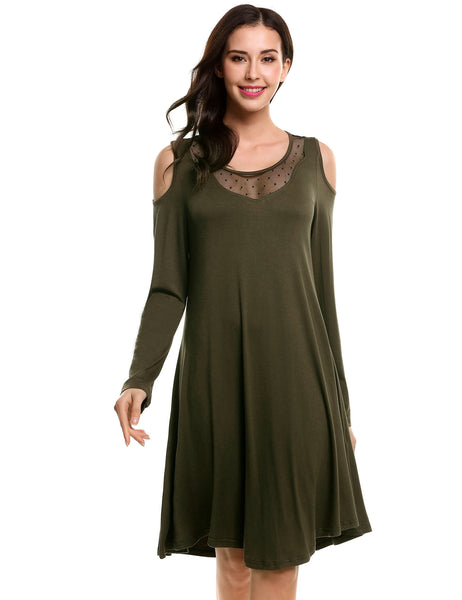 Army green Women Casual O-Neck Long Sleeve Soft Asymmetrical Hem Dress