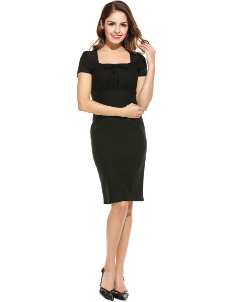 Women Sexy Square Collar Cap Sleeve Back Split Solid Bow Slim Elastic Package Hip Work Dresses