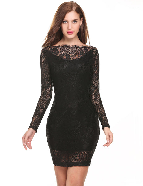 Black Boat Neck Long Sleeve Floral Lace Hollow Out Going Out Dress