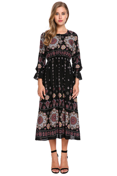 Bohemian Style Long Sleeve Button Print Casual Dress