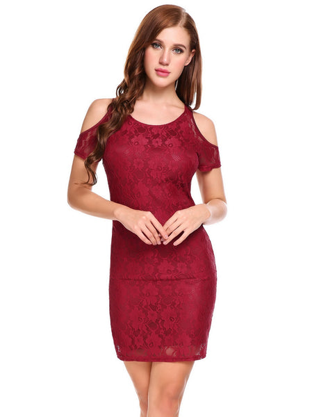 O-Neck Short Sleeve Cold Shoulder Floral Lace Going Out Dress