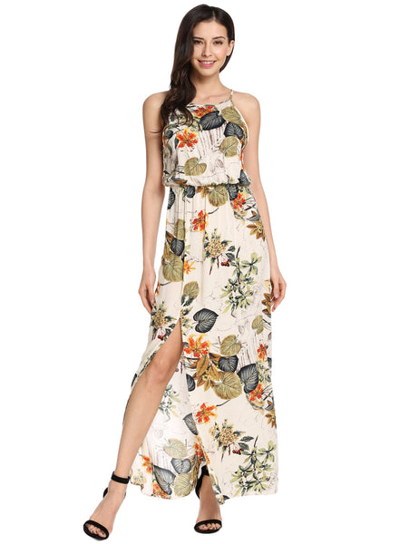 Beige Halter Sleeveless Side Slit Floral Print Maxi Dress