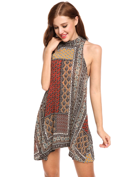 Halter Sleeveless Prints A-Line Elastic Backless Going Out Dress
