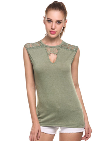 Army green Sexy Keyhole V-Neck Sleeveless Lace Patchwork Hollow Out Tank Top