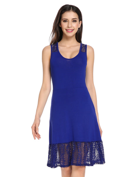 Blue O-Neck Sleeveless Lace Solid Slim A-Line Dress