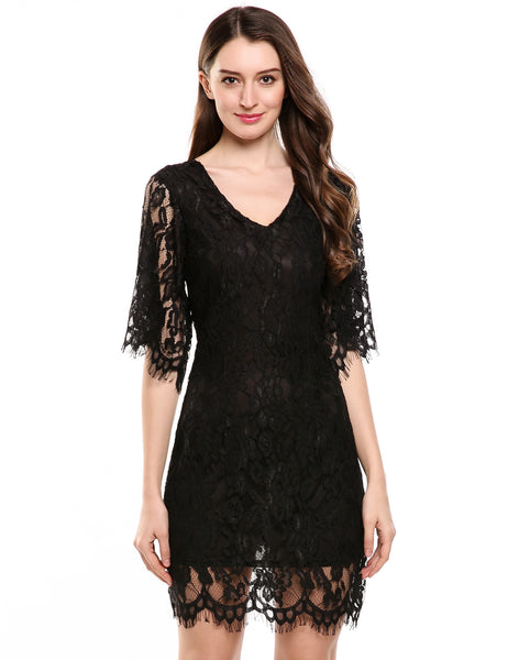 Black V-Neck Half Flare Sleeve Floral Lace Hollow Out Going Out Dress