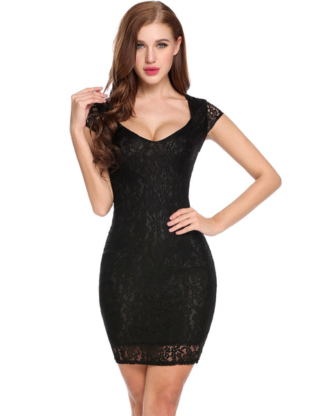 Red New Women Sexy V-Neck Cap Sleeve Lace Hollow Out Slim Bodycon Dress with Lining