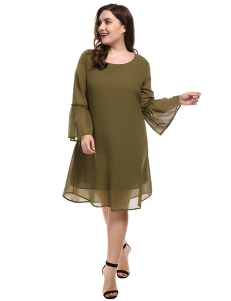 Army green Flare Sleeve Casual Loose Chiffon A-Line Plus Size Casual Dress