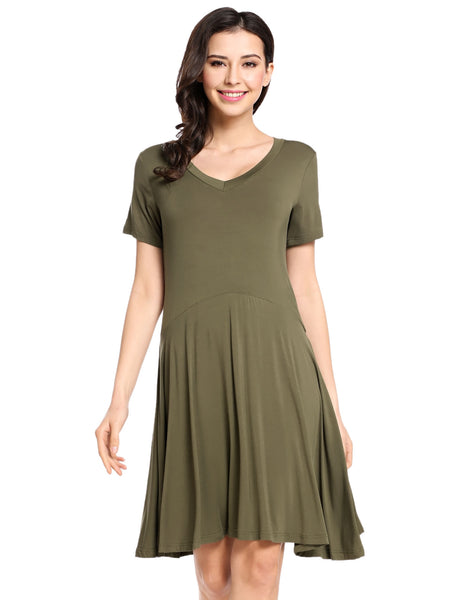 Army green Womens Casual Short Sleeve Comfy Loose Tunic Top