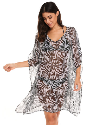 Black&White Batwing Sleeve Printed Beach Chiffon Bikini Cover Up