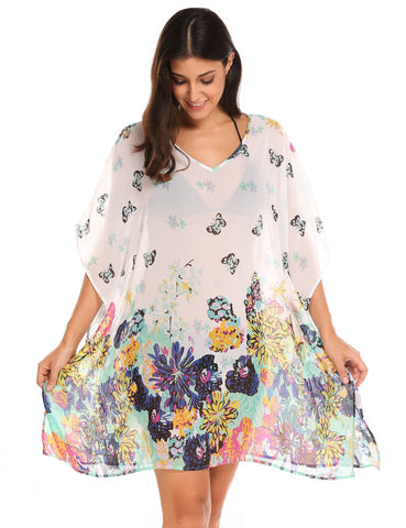 White Batwing Sleeve Printed Beach Chiffon Bikini Cover Up