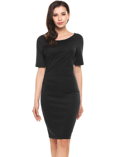 Black Half Sleeve Side Ruched Bodycon Pencil Going Out Dress