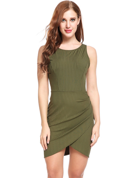 Army green Cross Asymmetrical Hem Backless Elastic Bodycon Going Out Dress