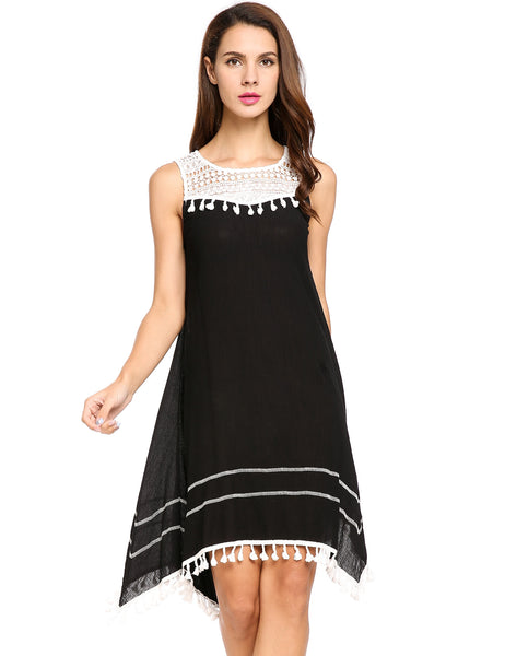 Black O-Neck Sleeveless Lace Patchwork Chiffon A-Line Tassel Casual Dress