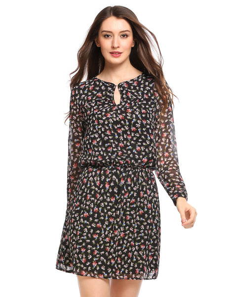 Prints Hollow Out A-Line Chiffon Dress with Lining