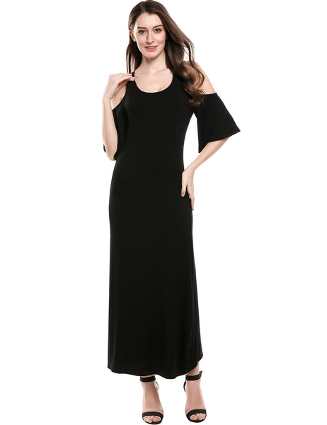 Black Half Flare Sleeve Solid Cold Shoulder O-Neck Elastic Maxi Dress