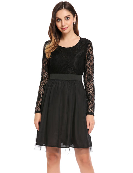 Black Long Sleeve Floral Lace and Mesh Patchwork A-Line Cocktail Party Dress