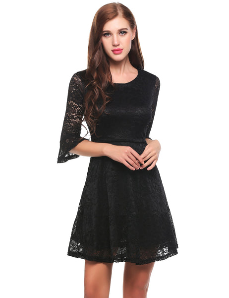 Black 3/4 Flare Sleeve Hollow Floral Lace A-Line Dress