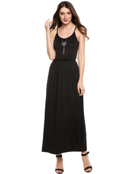 Black Summer Spaghetti Strap Solid Casual Long Maxi Dress