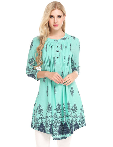 Green O-Neck 3/4 Sleeve Printed A-Line Pleated Hem Chiffon Tunic