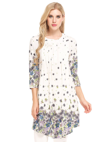 White O-Neck 3/4 Sleeve Printed A-Line Pleated Hem Chiffon Tunic