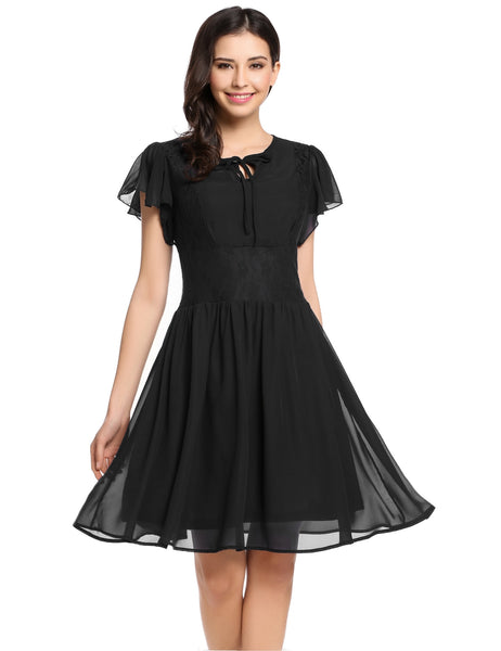 Black Butterfly Sleeve Keyhole Front Lace Chiffon Skater Casual Dress