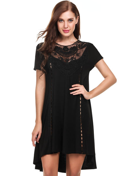Black Short Sleeve Print O Neck Loose Mini Dress