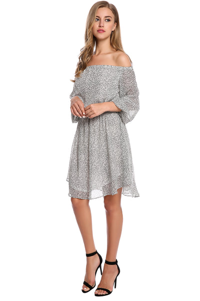 Black Off Shoulder Long Sleeve Print Beach Casual Dress