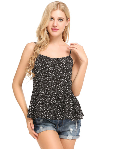 Black Sleeveless Square Neck Floral Print Loose Pullover Camisole