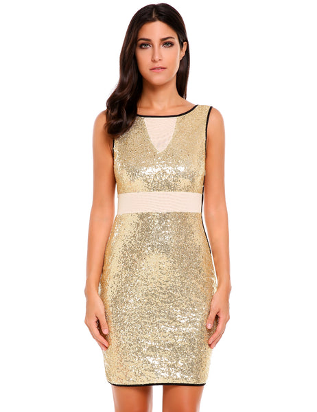 Gold Mesh Patchwork Sequins Bodycon Tank Dress