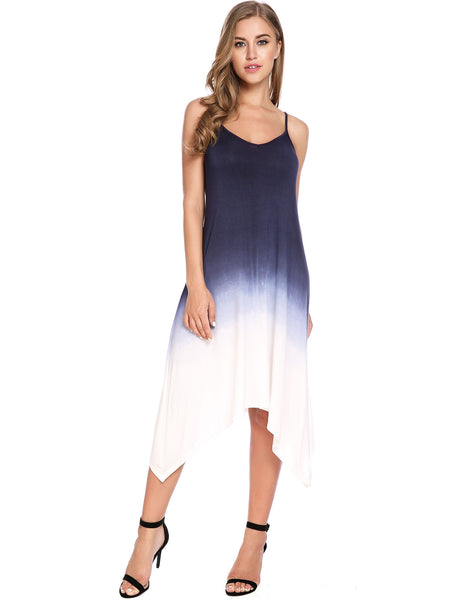 Blue Sleeveless Gradient Color V Neck Lace-up Asymmetrical Dress