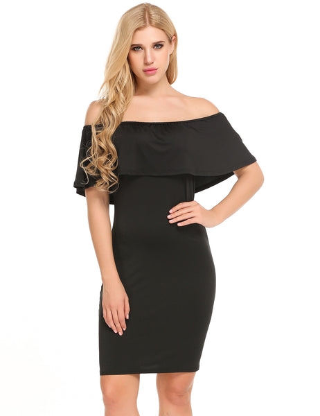 Black Sleeveless Solid Off The Shoulder Mini Pencil Dress