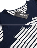Navy blue Short Sleeve Striped Pocket Casual Loose Fit Tunic Dress