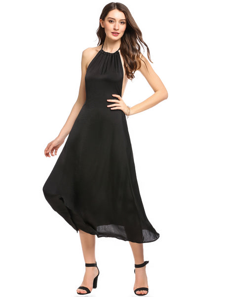 Black Halter Sleeveless Backless Beach Maxi Dress
