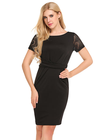 Black Lace Patchwork Pencil Package Hip Banquet Dress