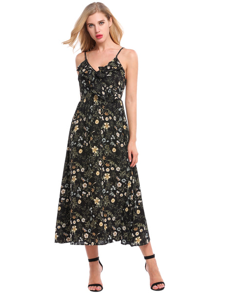 Black Front Cross Prints Ruffle Brim Casual Dress