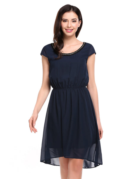 Black Beading Chain Asymmetrical Hem Tunic Chiffon Dress