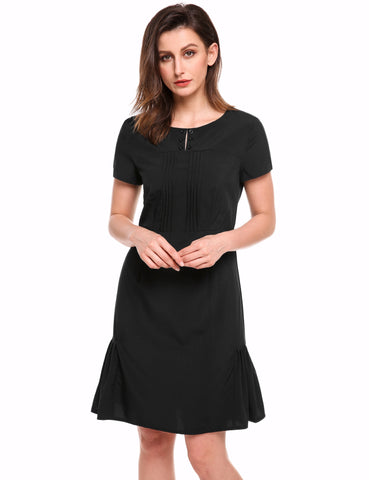 Black Vintage Style O-neck Short Sleeve Pencil Dresses