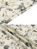 Beige&White Bat Sleeve Floral Print V Neck Pullover Split Maxi Dress