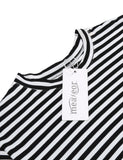 Flare Half Sleeve Striped A-Line T-Shirt Casual Dress