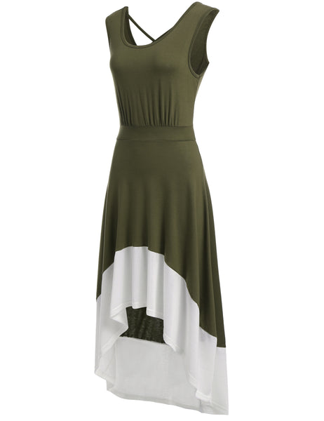 Army green Sleeveless Patchwork Back V Neck Cross-strap Hollow Out Casual Dress