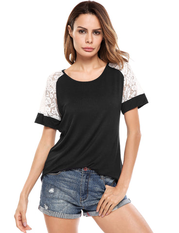Knit Short Lace Hollow Out Sleeve Patchwork Elastic T-Shirt
