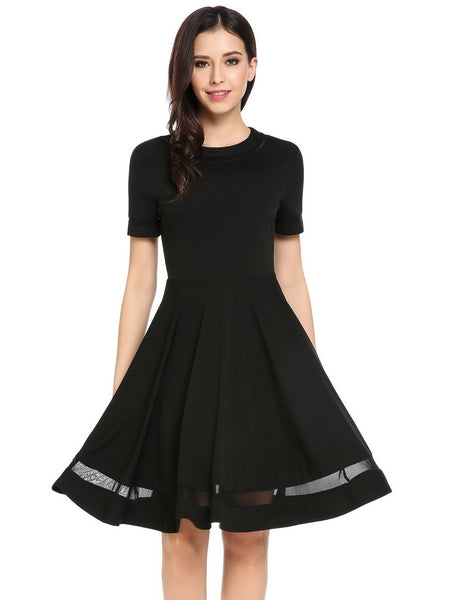 Black O-Neck Short Sleeve Patchwork Back Zipper Casual Dress