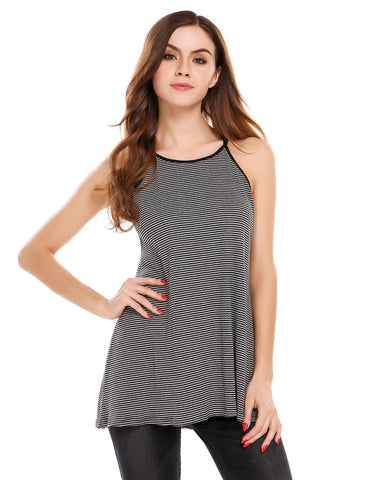 Black Striped Back Cross Strap Sleeveless A-Line Pullover Camisole