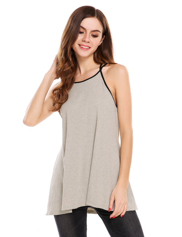 Gray Striped Back Cross Strap Sleeveless A-Line Pullover Camisole