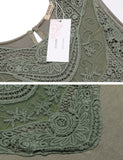 Army green Casual Sleeveless Lace Patchwork A-Line Dress