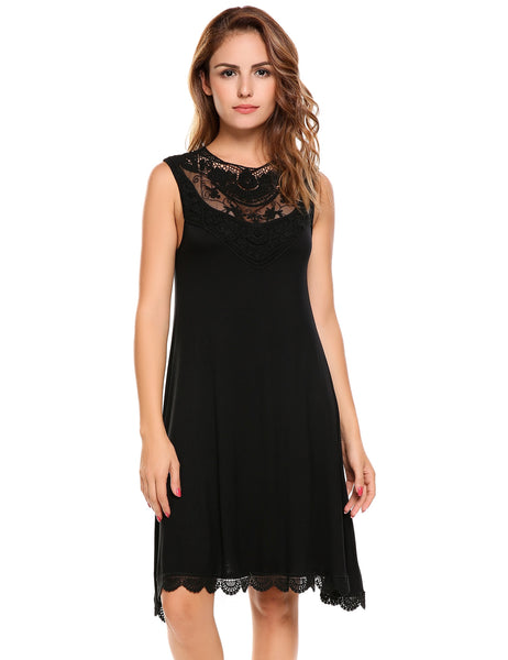 Black Casual Sleeveless Lace Patchwork A-Line Dress