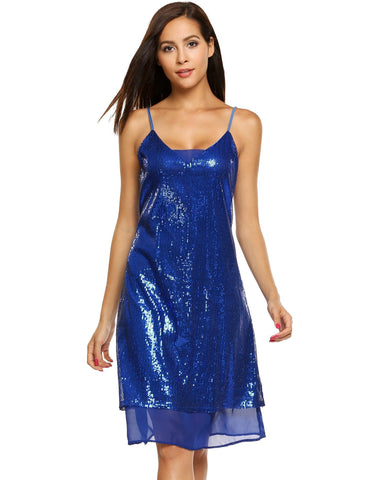 2017 New Spaghetti Strap Sequined Chiffon Patchwork Dress